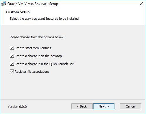 VirtualBox アイコンとショートカットの作成