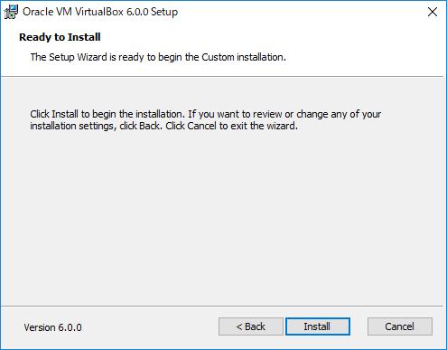 VirtualBox インストール開始