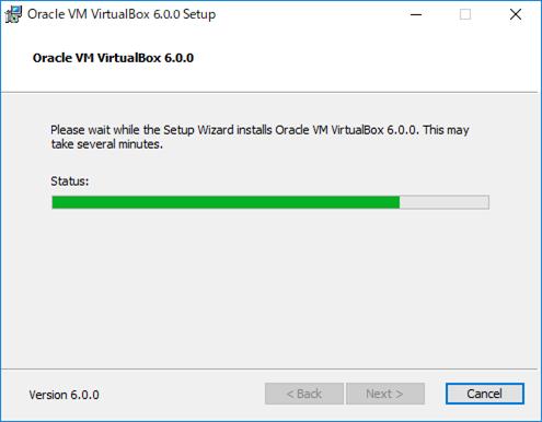 VirtualBox インストール中