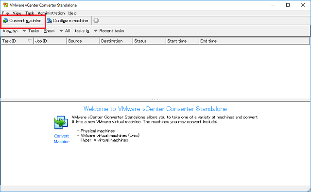 VMware vCenter Converter Standaloneの画面